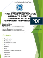 Three Phase Fault Analysis With Auto Reset for Temporary Fault and Trip for Permanent Fault PPT For Project