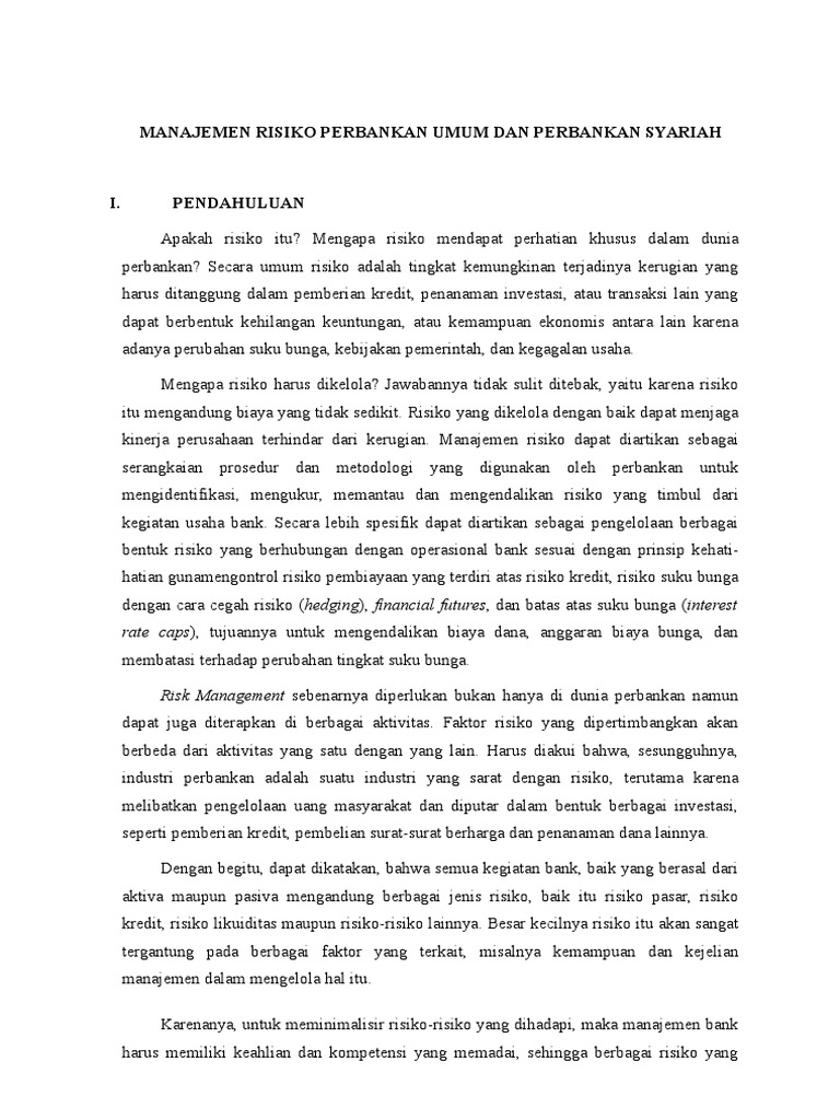 Manajemen Risiko Perbankan Makalah Smstr 03