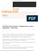 Lee Kuan Yew, Forever a Singaporean, Once a Malaysian – Fikri Fisal - The Malays