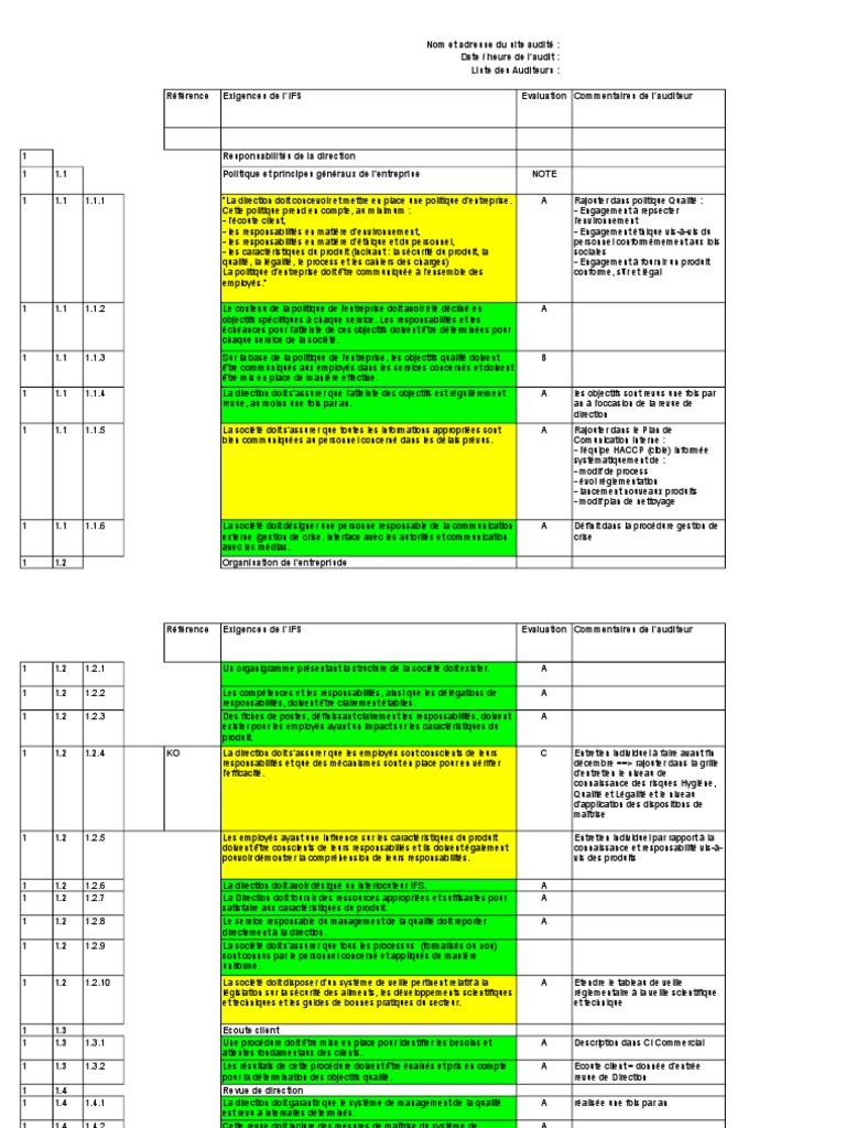 Grille D Audit Ifs Version 5