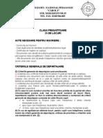 Criterii Specifice Inscriere in Invatamantul Primar