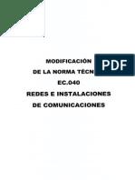 Norma Ec.040 Redes e Instalaciones de Comunicaciones