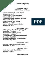 Bridal Newsletter October 2015
