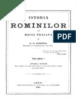 Istoria românilor din Dacia TRAIANĂ Prima Pagin A.D.XENOPOL