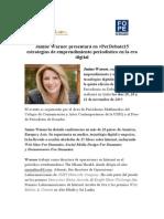 Janine Warner presentará en #PerDebate15 estrategias de emprendimiento periodístico en la era digital