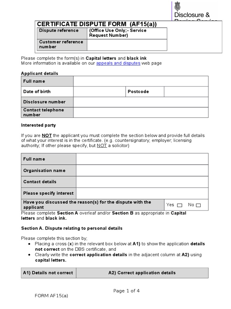 Dbs certificate dispute form v01 criminal record criminal law aiddatafo Image collections