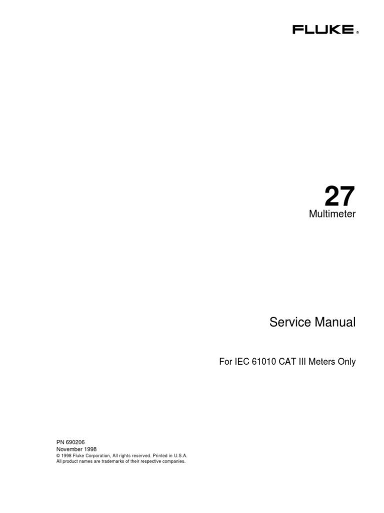 Fluke 27 Service Manual (1998) | Analog To Digital Converter | Electronic  Circuits