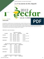 INSCRIÇÕES __ I SECFAR - 29 de Agosto a 1º de Setembro de 2012, Alegre_ES