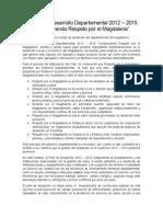 El Plan de Desarrollo Departamental 2012