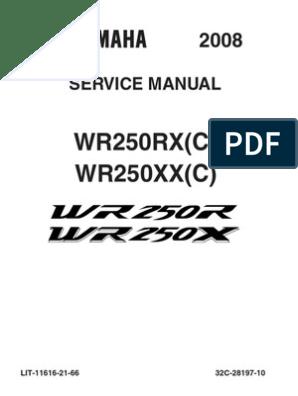 Yamaha WR250X WR250R Workshop Manual 2008-2011 | Carburetor ... on