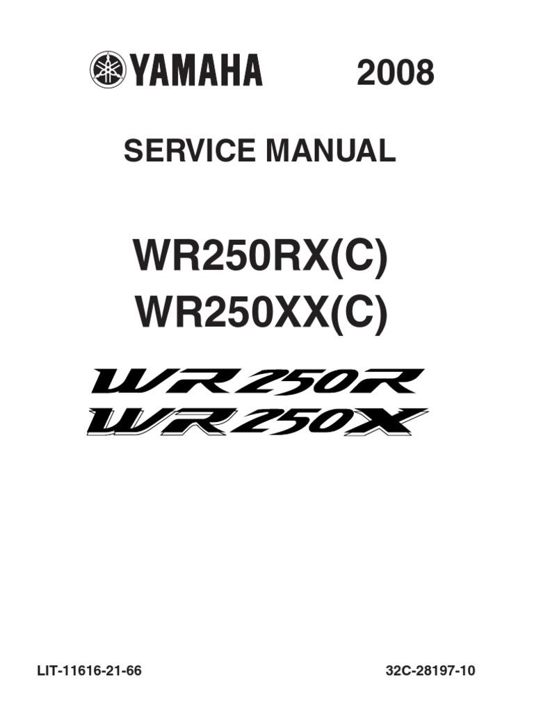 Yamaha WR250X WR250R Workshop Manual 2008-2011
