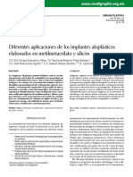 Diferentes aplicaciones de los implantes aloplásticos elaborados en metilmetacrilato y silicón