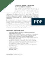 Calificación de Riesgo a Bancos e Instituciones Financieras