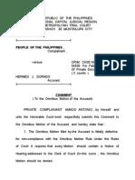 Comment to Omnibus Motion -Dorado Case Oct. 2015