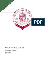 Notre Dame Academy 2010-2011 Curriculum Catalog