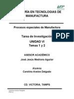 Procesos especiales de Manufactura