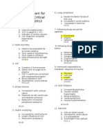 Selection Exam Dip in Critical Care 2012 Answers