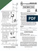 Algebra 1 2004-05 Contest