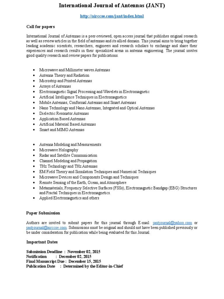 International journal of antennas jant http airccse com jant index html