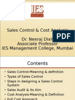 Sales Control & Cost Analysis