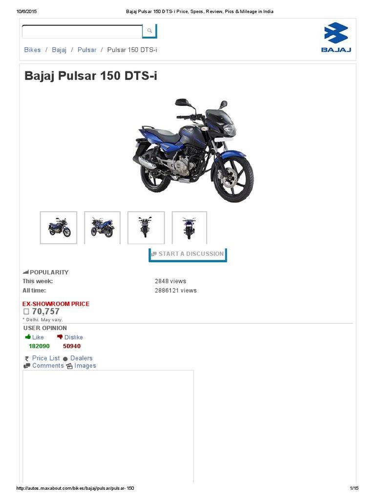 Bajaj Pulsar 150 DTS-i Price, Specs, Review, Pics