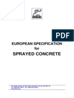 European Specification for Sprayed Concrete