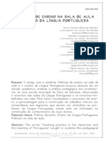 PRÁTICAS DE ENSINO NA SALA DE AULA E ENSINO DA LÍNGUA PORTUGUESA