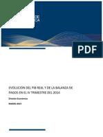 Evolucion PIB Real y Sector ExternoIV Trim 2014