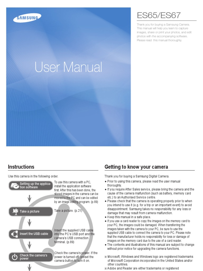 Samsung ES65(SL50) English User Manual | Secure Digital | Battery Charger