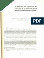 La pérdida de los derechos, del significado de la experiencia y de la inserción social