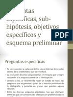3.Preguntas Específicas, Sub-hipótesis, Objetivos Específicos y Esquema