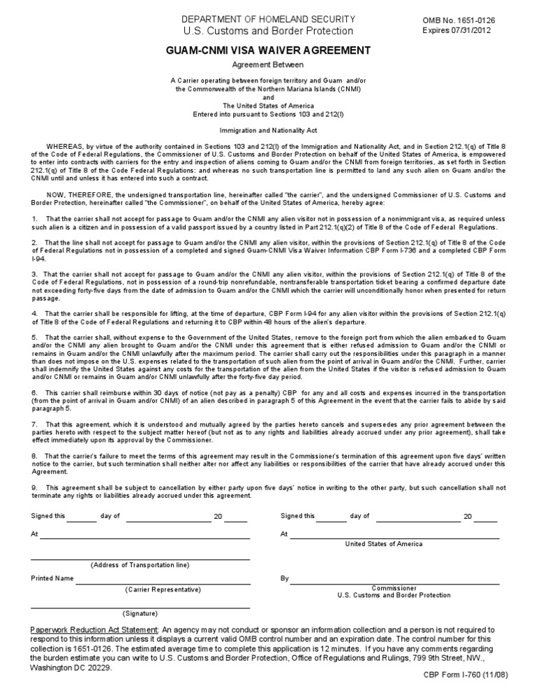 Us Customs Form Cbp Form I 760 Guam Visa Waiver Agreement