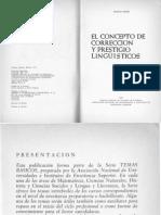 El concepto de corrección y prestigio lingüísticos