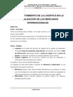 EL COMPORTAMIENTO DE LA LOGÍSTICA EN LA GLOBALIZACIÓN DE LOS MERCADOS INTERNACIONALES