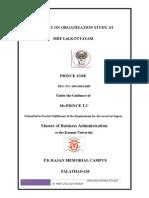 A Report on Organization Study at Mrf