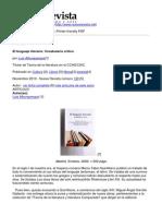 Nueva Revista - El Lenguaje Literario. Vocabulario Critico