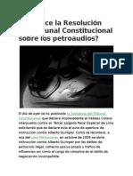 Qué Dice La Resolución Del Tribunal Constitucional Sobre Los Petroaudios