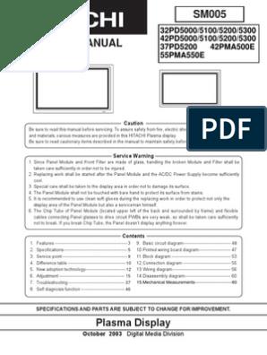 Hitachi PD5000 5200 Series Plasma Service Manual | Solder
