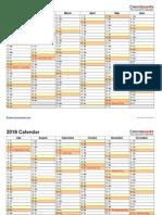 2016 Calendar Landscape 2 Pages