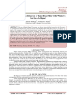 Understanding the Behavior of Band-Pass Filter with Windows for Speech Signal