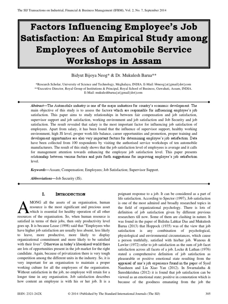 "research paper on job satisfaction 2012 Review paper: leadership styles team innovation in the private research centers investigated employees"" job satisfaction in public sector organizations."