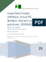 DV00402A Maquinas Virtuales Vmware Virtual Pc Sandbox Particion Ordenador