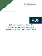 Informe sobre medidas de Emisiones Radioeléctricas de  Instalación WIFI en un Aula Real