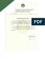 University Recommendation Letter Sample