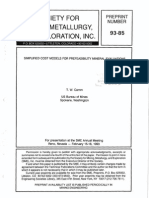 Simplified Cost Models for Prefeasibility Mineral Evaluations