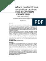 A governação dos territórios e as novas políticas urbanas