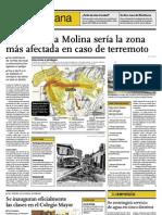 Terremotos-Centro de La Molina sería la zona más afectada en caso de terremoto