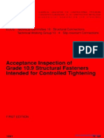 Acceptance Inspection of Grade 10.9 Structural Fasteners Intended for Controlled Tightening