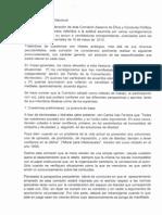 Informe del CEN colorado sobre apercibimientos