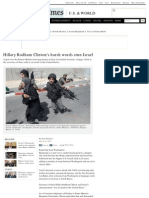 Hillary Rodham Clinton's Harsh Words Stun Israel